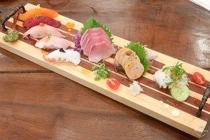 Nigiri: salmon, tuna, albacore, hamachi toro, & tako (octopus) Sashimi: hamachi, ankimo (monk fish liver), & tako (octopus)