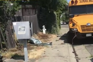 School Bus Crashes Into Cars & House In Elk Grove
