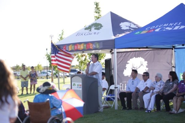 Vice Mayor Pat Hume speaking at the opening of Kammerer Park