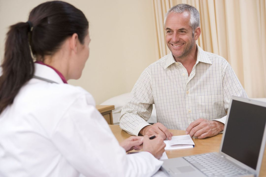 consultation with male patient