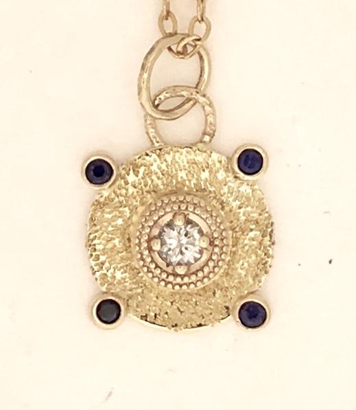 Sapphire Pendant, Blue and White Sapphire, 18k bimetal, 14k gold