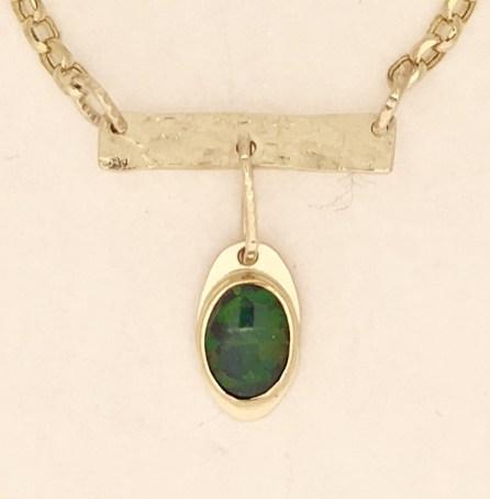 Natural Opal Bar Pendant, 22k, 14k gold.