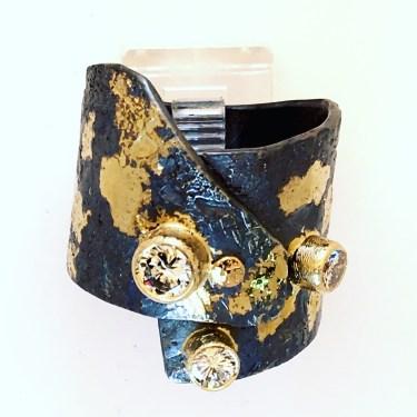 Asymetrical wrap ring, diamonds, silver, 14k gold