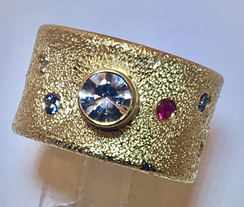 Frosted diamond ring, diamonds, rubies, sapphire 14k gold