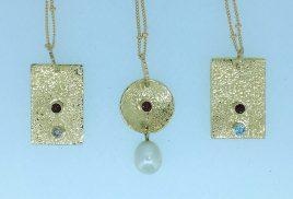 18k bi-metal pendants, sapphire, garnet, aquamaring