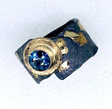 London blue topaz ring, 14k gold, silver