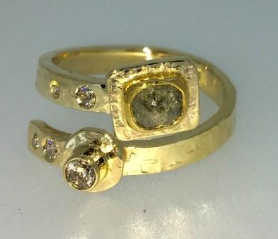Wrap ring, 14k gold, half carat silver grey rose cut diamond, wihte diamonds
