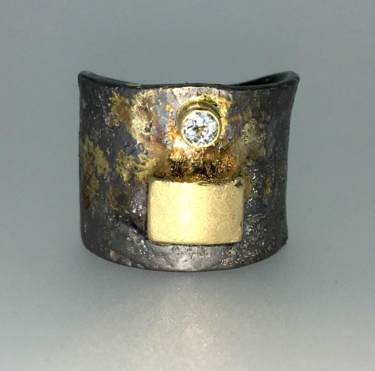 Diamond ring, silver, 18k gold
