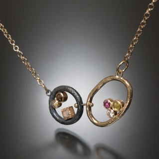 Tangents, diamonds, diamond cubes, natural color rose cut diamonds, ruby, silver and gold