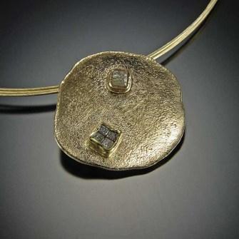 Sand Dollar Pendant, diamond cubes, 14k gold