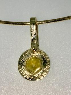 Pendant,Hexagonal cut natural yellow diamond, 1.1 carat, 14k gold