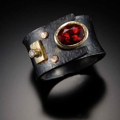 Red Labradorite Ring, diamond, gold, silver