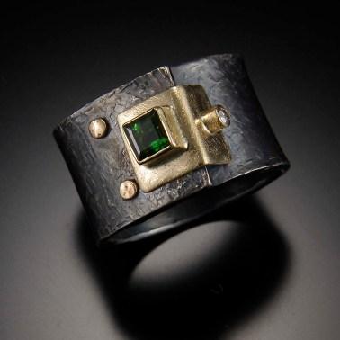 Tourmaline Structure ring, 14k gold, silver, diamond, heirloom tourmaline