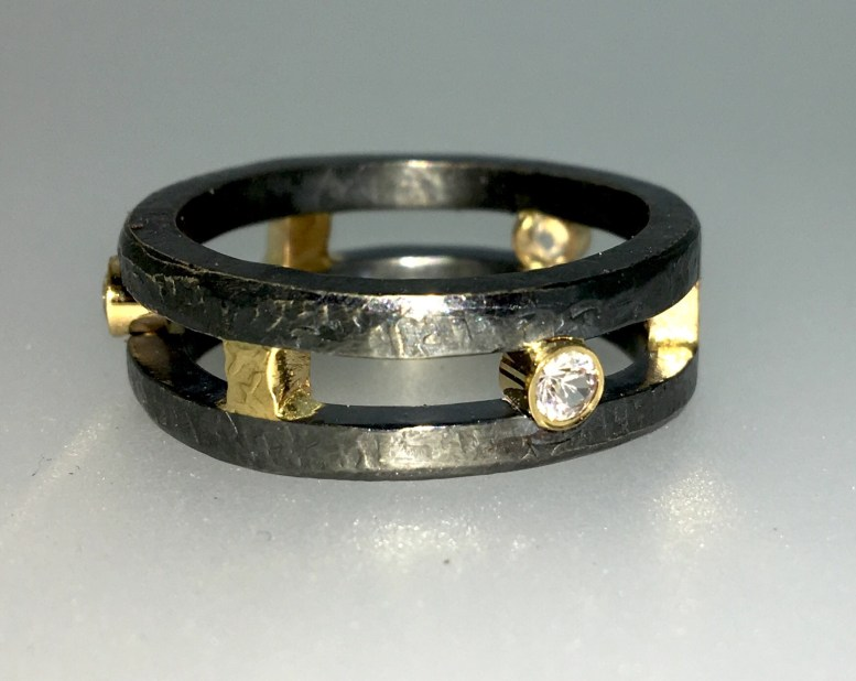 Double ring, 14k gold, sapphires, silver