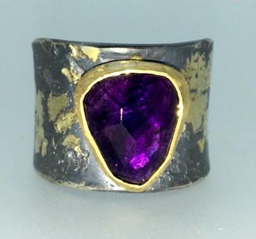 Amethyst ring, 22k gold, silver, 14k gold