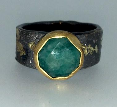 Amazonite ring, 22k gold, silver, 14k gold