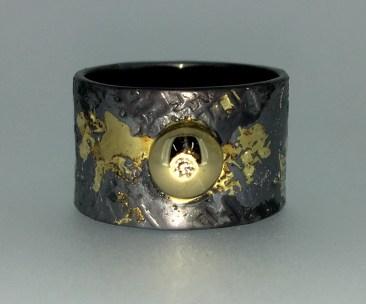Circle of gold ring,diamond, 14k gold, silver