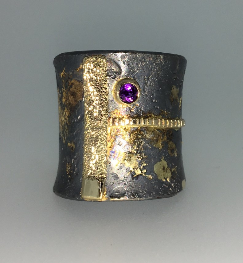 Wide band, 18k gold, anethyst, silver