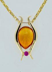 13.97 carat artisan-cut citrine, pink sapphire, 14k gold