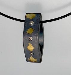 Five Stars, diamond pendant, sterling, gold