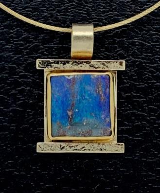 Boulder opal pendant in 14k gold