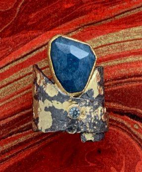 Oxidized sterling, 14k gold, Brazilian lazulite, Montana sapphire.