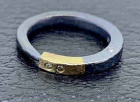 14k gold, diamonds, oxidized sterling