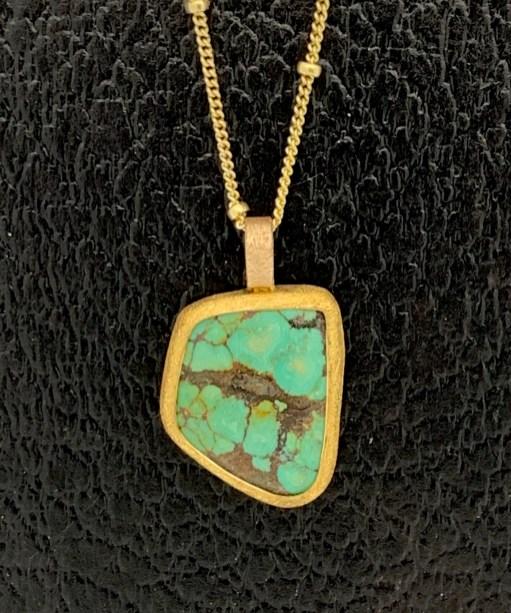 22k & 14k gold, Tibetan turquoise