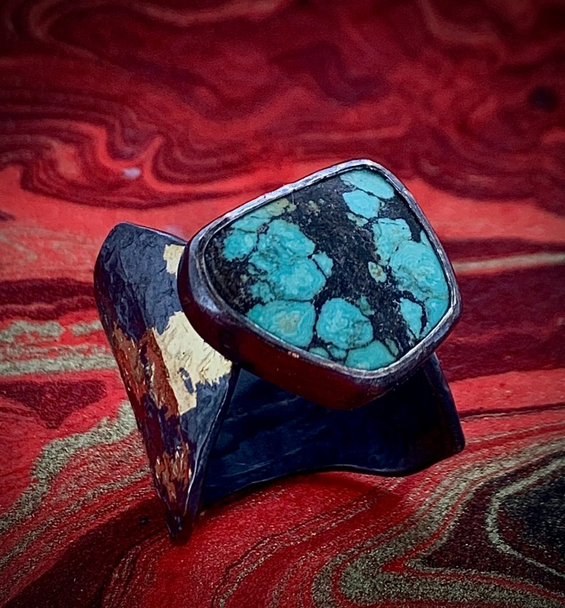 Tibetan turquoise in oxidized sterling and 14k gold