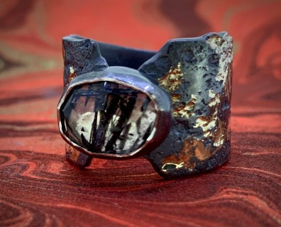 Ruitilated quartz in oxidized sterling and 14k gold
