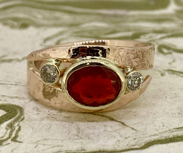 Fire opal and diamonds in 14k gold