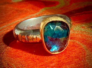 London blue topaz in 22k gold and oxidized sterling