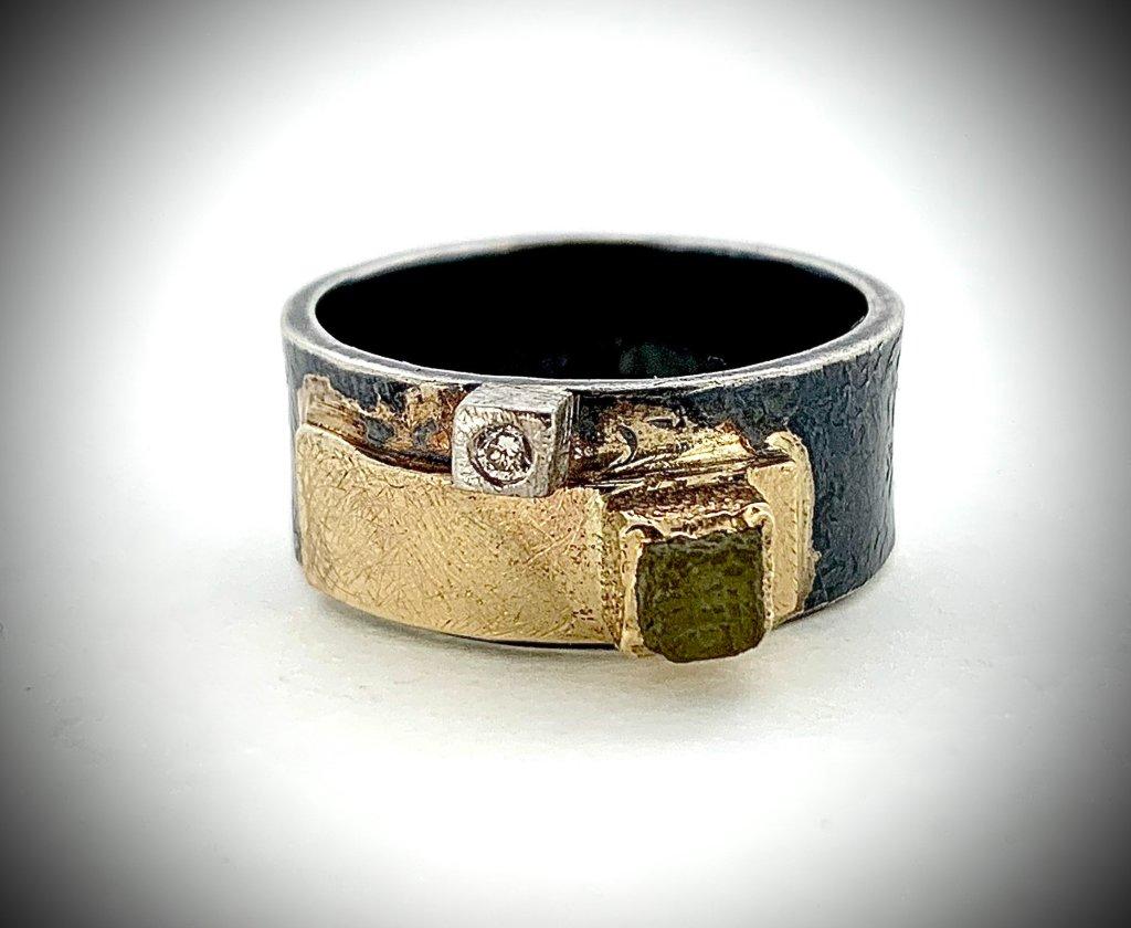 Rough Diamond and Palladium Ring