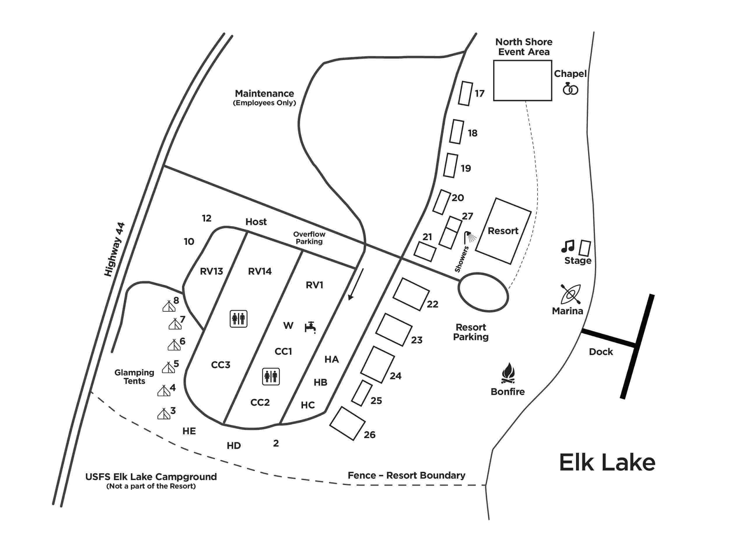 Elk Lake Resort Map