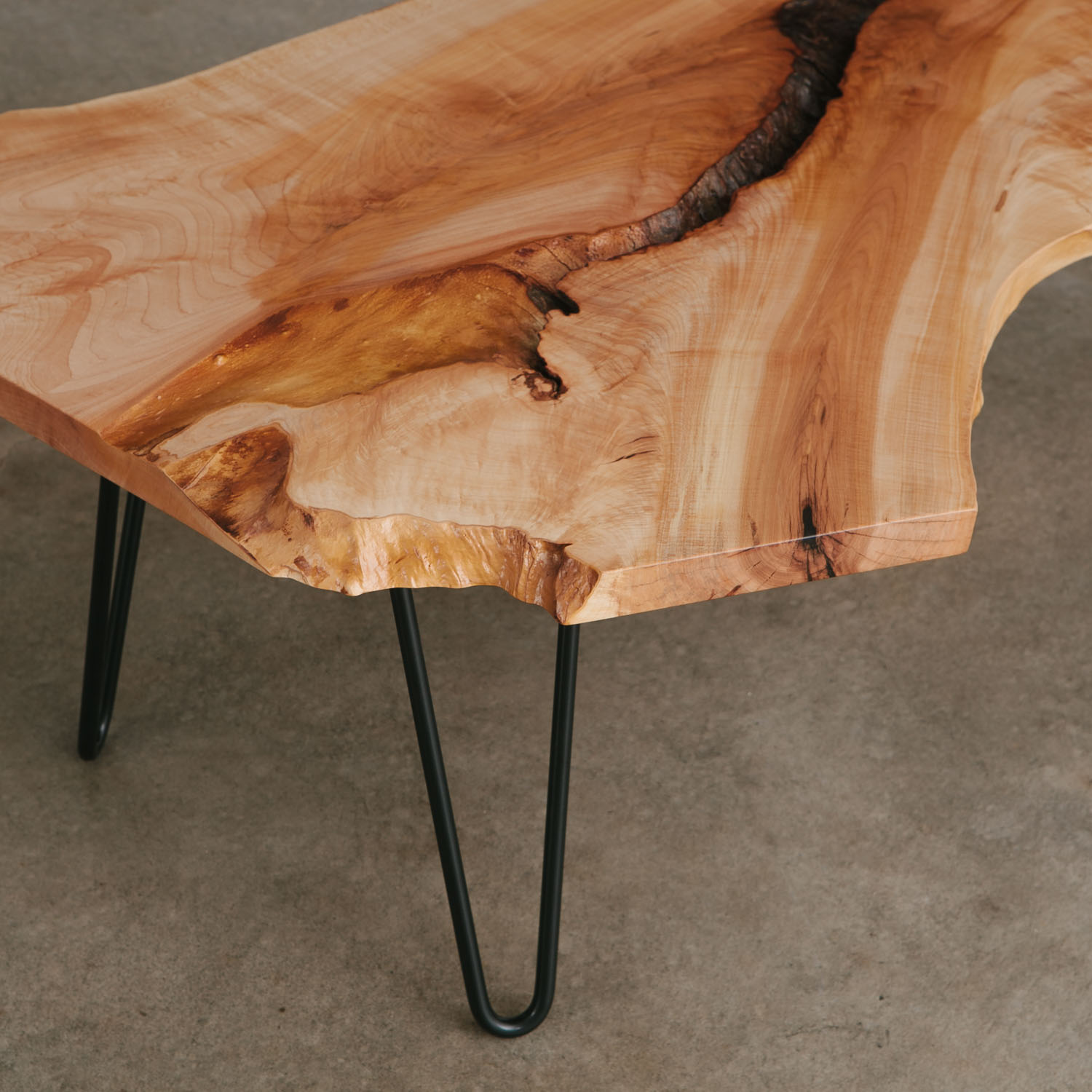 hipster live edge coffee table hairpin