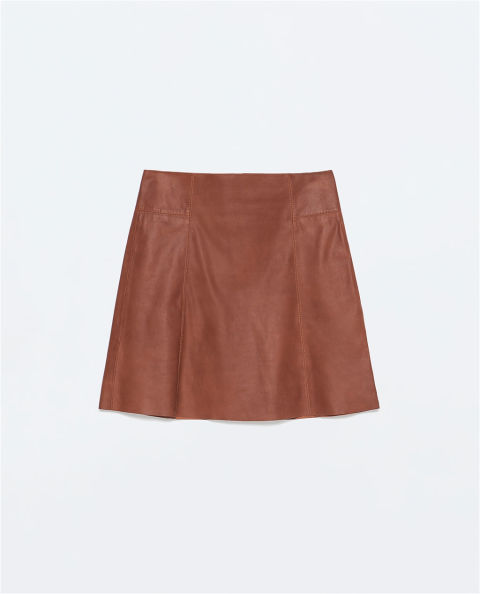 "<p>Zara Leather Mini Skirt, $129; <a href=""http://www.zara.com/us/en/woman/skirts/leather-mini-skirt-c358006p2388044.html"">zara.com</a></p><br />"