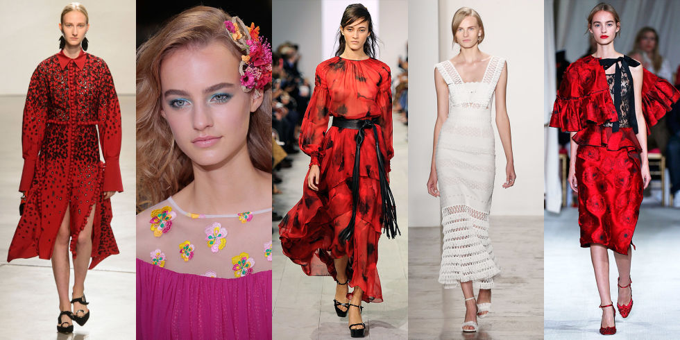 Proenza Schouler, Diane von  Furstenberg, Michael Kors, Jonathan Simkhai, and Peter Copping for Oscar de la Renta: All 5 designers (and more!) incorporated hints of Spanish culture into their collections, from bold red hues to toreador-esque flourishes.