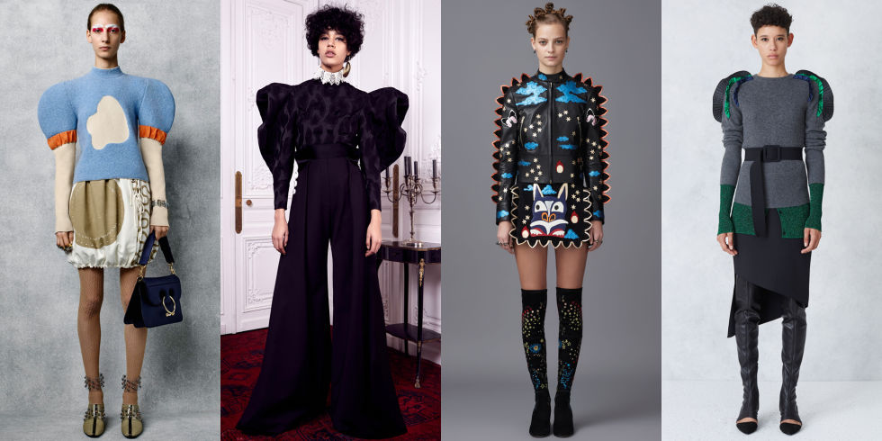 Voluminous shapes continue to reign supreme, this time focusing on the shoulders. J.W. Anderson, Ellery, Opening Ceremony, and Valentino all had standout pieces featuring this trend.Left to right: J.W. Anderson, Ellery, Valentino, Opening Ceremony