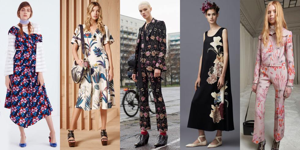 Bold florals took root this season in large format at Tanya Taylor, Tory Burch, and Giambattista Valli.  Left to right: Tanya Taylor, Tory Burch, Givenchy, Valentino, Giambattista Valli
