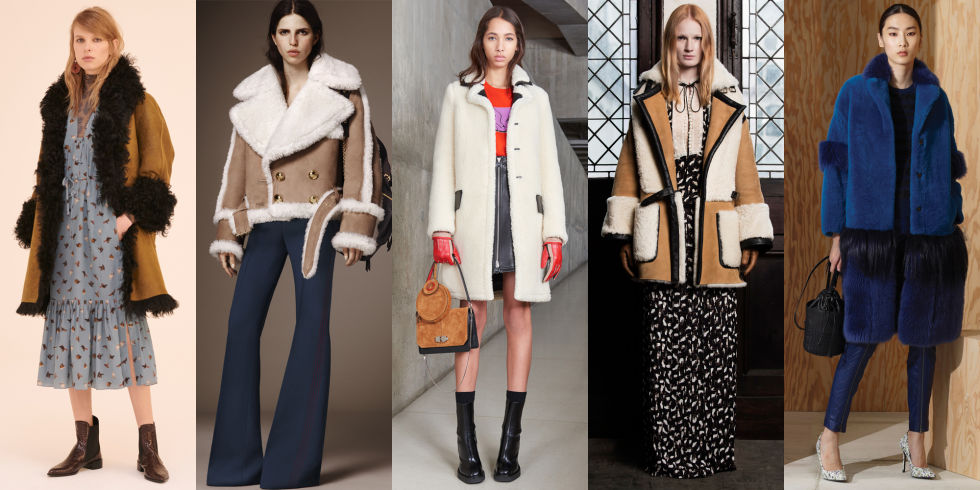 The coat-au-jour continues its dominance in trim and as an all-over textile at Topshop Unique, Carven, and Veronique Branquinho.  Left to Right: Topshop Unique, Burberry, Carven, Veronique Branquinho, Bottega Veneta