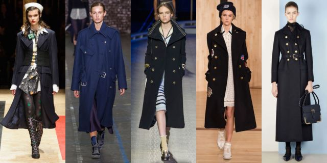 Pre-fall's nautical trend continues strong into fall 2016 with Navy-inspired calf and ankle-length coats. If you're on the shorter side wear yours with heels to keep it from swallowing your frame. As seen at Prada, John Galliano, Tommy Hilfiger, Coach, and RED Valentino