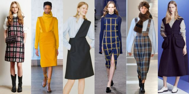 Longing for the days when getting dressed meant putting on a simple uniform made up of a pinafore and top? Well come fall 2016, you're in luck. This was the go-to combo for everyone from Jil Sander Navy to Suno. As seen at Tomas Maier, Each x Other, Trademark, Jason Wu, Suno, and Jil Sander Navy