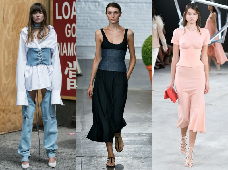 Surprised to see waist training makes its stylishdebut on the runway? Us too. Left to Right:Misbhv, Tibi, Sally LaPointe