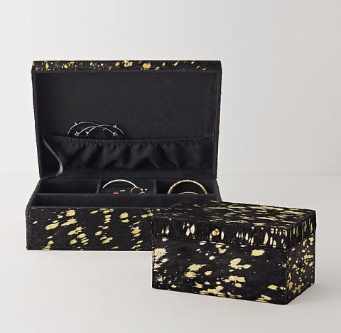 Metallic Hide Jewelry Box, $39; rhteen.com