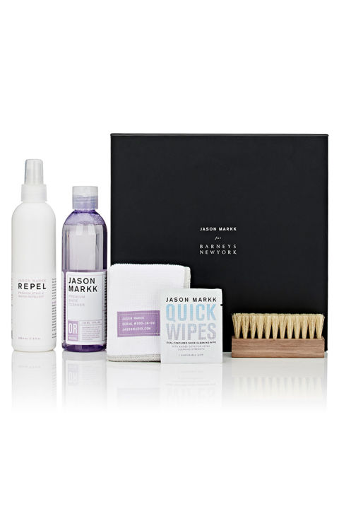 Jason Markk's cleaning supplies are a cult favorite among sneakerheads, and his recent collab with Barneys just made his products a lot more exclusive. Trust us, your shoe freak will never have to worry about roughing up his white kicks again. Jason Markk Shoe Cleaning Kit, $60; barneys.com