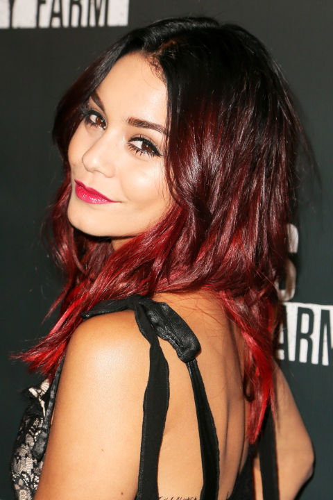 Vanessa Hudgens lets her roots show in a black-to-burgundy ombré.