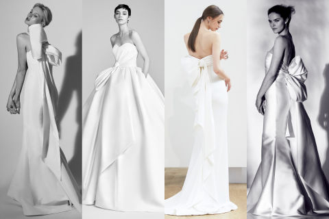 This Old Hollywood silhouette is back on the rise thanks to seasoned brands like Viktor & Rolf, Carolina Herrera, and Oscar de la Renta. The extra large bows decorated ball gowns and sheath dresses alike for chic simplicity with mass appeal. Left to right: Carolina Herrera, Viktor & Rolf, Oscar de la Renta, Rivini