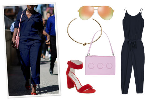 A navy blue jumpsuit feels fresh when you've been living in shades of black all winter. Keep it seasonal with open-toe sandals, an Easter-egg-hued handbag, and mirrored aviators. A trendy choker adds some edge to an otherwise sweet look.Armani Exchange Jumpsuit, $170, armaniexchange.com; Armani Exchange Sherbert Modern Aviator Sunglasses, $115, armaniexchange.com; Opening Ceremony Nev Zip Clutch, $139, barneyswarehouse.com; Jeffrey Campbell Sandals, $130, nordstrom.com;  Jennifer Fisher Knot Choker, $495, jenniferfisherjewelry.com