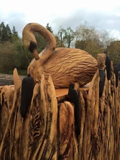 Swan with bulrush detail