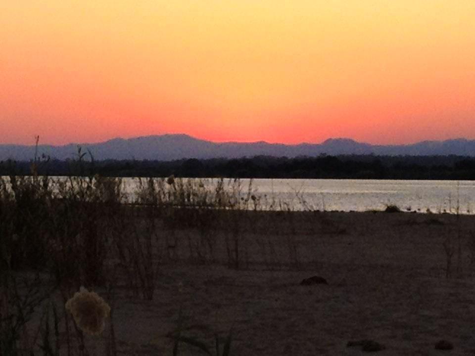 Sunset on Zambezi River in Zambia Africa